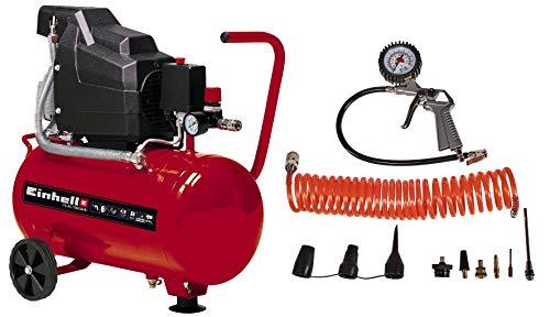 Einhell Kompressor TC-AC 190/24/8 Kit (max. 8 bar, 24 l-Tank, Manometer + Schnellkupplung, Rückschlag-/Sicherungsventil, inkl. Druckluftschlauch, Reifenfüllmesser und Adapter-Set)