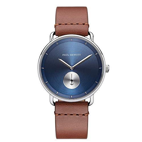 PAUL HEWITT Armbanduhr Männer Edelstahl Breakwater Navy Sunray - Herren Uhr Lederarmband (Braun), Silberne Herren Armbanduhr, blaues Ziffernblatt