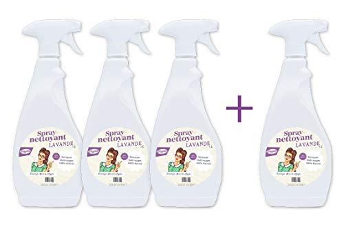 Nettoyants spray Multi-usages toutes surfaces 100% Naturelle - Huile essentielle de Lavande bio - LOT de 3 + 1 OFFERT !