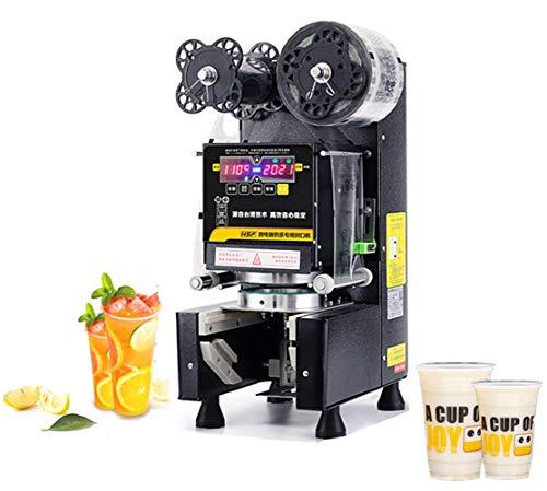 YJINGRUI Automatische Bechersiegelmaschine Commercial Electric 88/90 / 95mm PP/PE Kunststoff/Pappbecher Commercial Cup Sealer für Milchtee Sojamilch Kaffee 400-500 Tassen/Stunde (Schwarz)