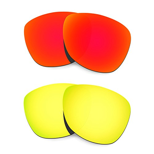 HKUCO Plus Mens Replacement Lenses for Oakley Frogskins Sunglasses Red/24K Gold Polarized