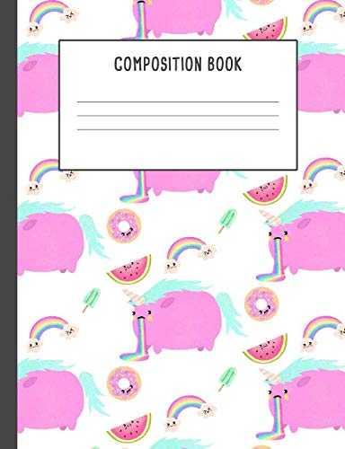 Composition Book: Pink Unicorn Pucking Rainbow Notebook , 200 pages College ruled, Back to School (7.44 x 9.69)