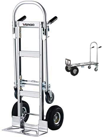 """Vergo Industrial AS7A Aluminum Convertible Hand Truck Dolly Cart with Dual Handle 800 lbs Capacity (2 Positions, 53"""" High)"""