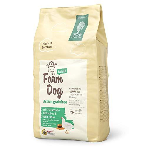 Green Petfood FarmDog Active Grainfree (1 x 10 kg)   getreidefreies Hundefutter mit Tierschutz-Hühnchen und roter Linse   nachhaltiges Trockenfutter für ausgewachsene Hunde   1er Pack