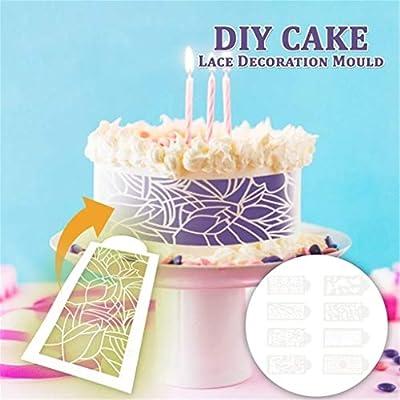 8Pcs DIY Cake Lace Decoration Moulds Sculpted T...