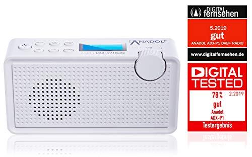 Anadol ADX-P1 DAB/ DAB+ Radio für UKW/FM - tragbares Radio FM fähig - Kofferradio Stereo mit Akku - Digital-Radio mit zweizeiligem LCD-Display und 20 Senderspeicherplätze - Kopfhöreranschluss - weiß