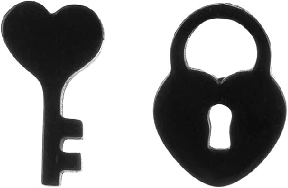 Stainless Steel Lock and Key Wedding Promise Valentines Anniversary Stud Earrings