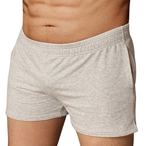 palglg Mens Bodybuilding Active Shorts 3' Inseam with Pocket Gray L