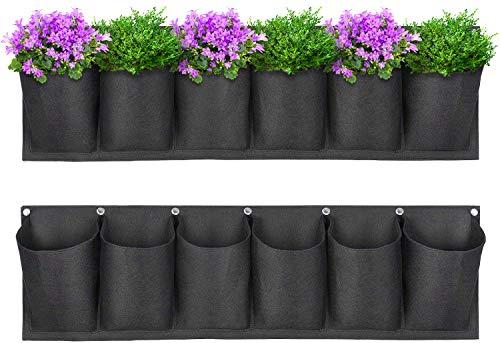Yuccer Tasca Verticale da Parete, Feltro Piante da Giardino Verticale da Interno Quadro Planting Bags Fiori Interni Eesterni Decorazione Giardino 6-Pocket (Nero)