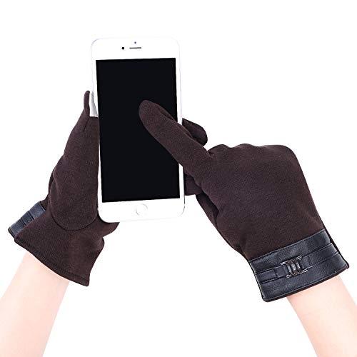 IBLUELOVER Hommes Gants d'hiver Efficace Écran Tactile Gants Épaisses Chauds Gants en Tricot Doux Gloves en Coton Confort pour Ski Moto Vélo Voiture Randonnée Snowboard Camping Cadeau de Noël