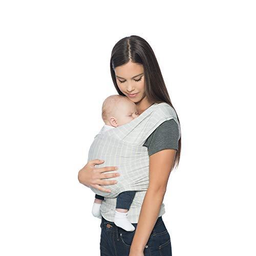 Ergobaby Babytragetuch für Neugeborene ab Geburt, Baby Tragetuch Elastisch Atmungsaktiv Grau Gestreift, Sling aus 100% Viskose