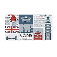 ロンドンイギリステーマランドマークとフラグ ゲーミングマウスパッド 大型 マウスパッド キーボードパッド 防水 耐久性 滑り止め 多機能 デスクマット 収納が簡単 オフィス/家庭用