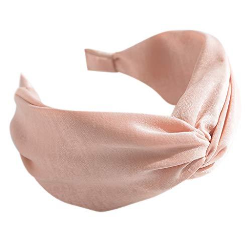 chenpaif 6 Colores Mujeres Niñas Vintage Boho Plisado Ancho Diadema Brillo Dulce Sólido Color Caramelo Aro Twist Cross Knot Nudo Bolso Envuelto en Tela Sombrero Rosa