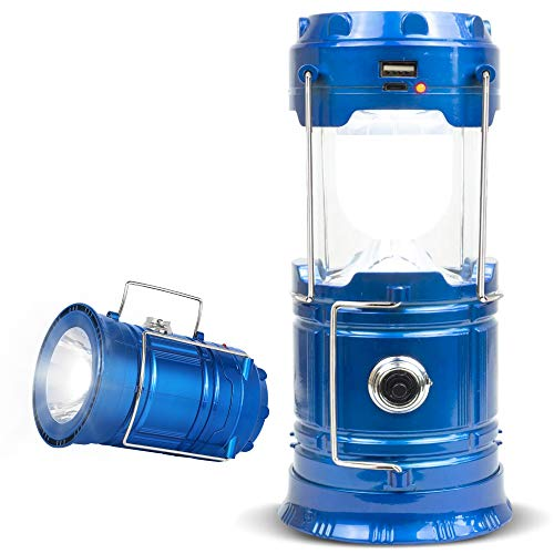 NanaHome LED Camping Lantern Rechargeable, 1 Pack Collapsible Solar Camping Lights with Flashlight, Waterproof Portable Survival Light for Hurricane, Emergency, Power Outages, Hiking, Fishing (Blue)…