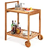 Tangkula Outdoor Acacia Wood Serving Cart, Patio Bar Cart Rolling Trolley Cart with 2 Trays, Portable Kitchen Serving Cart w/Wheels, Ideal for Business, Dining Room, Garden, Patio (Teak)