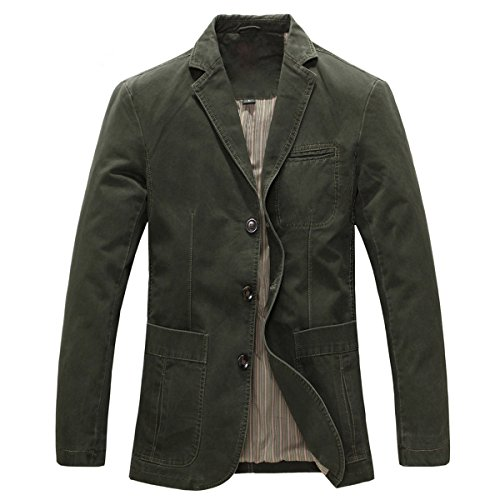 Allthemen Mens Casual Blazer Slim fit Long Sleeve Jacket Washed Cotton 3-Button Casual Suits Blazer Jackets, Army Green (3 Button), M