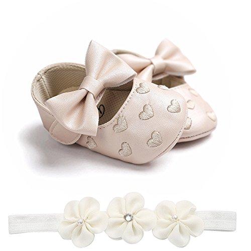 Harpily Scarpine Primi Passi Antiscivolo Ricamo Scarpine Neonato Primi Passi Bimba Battesimo Baby Girl in Pelle Flower Princess Shoes Moda +1 pc Cerchietto per Capelli (12-18mesi, Cachi)