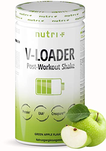 POST-WORKOUT-Shake V-LOADER - Muskelaufbau und Bodybuilding - 750g Grüner Apfel Pulver - Maltodextrin - Protein-Pulver - EAA - Creapure - Vegan Supplement - Green Apple