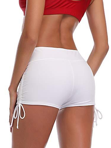 Summer Mae Damen Badeshorts Schnell Trocknendes Badehose Kurze Schwimmhose Strand Wassersport Board Shorts Weiß M
