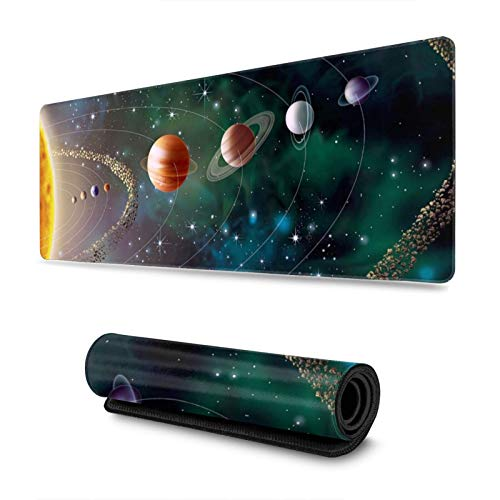 Large Gaming XXL Desk Mouse Pad with Stitched Edge Keyboard Pad Extended Gaming Mouse Mat Non-Slip Rubber Base Ergonomic Mousepad for Computer(Solar System Planets Revolution 11.8x31.5 in)
