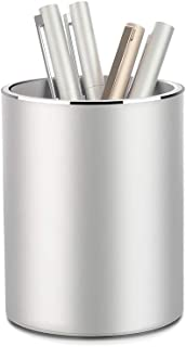 Metal Pencil and Pen Holder Vaydeer Round Aluminum Desktop Organizer and Cup Storage Box for Office,School,Home and Kids 3.9×3.1 inch.