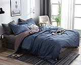 Omelas 3Pcs Blue Gray Duvet Cover Set King Size Greyish Blue Charcoal Grey Reversible Farmhouse Duvet Covers Modern Solid Colored Bedding Microfiber Comforter Quilt Cover for Men Women