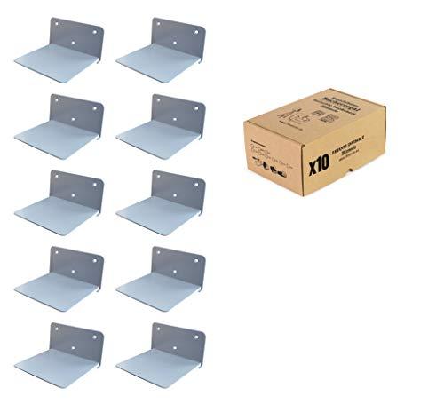 3Kamido Metallo mensola a Scomparsa Invisible Effetto Scaffale librerie, Muro Mensola poggialibri Conceal, Professionale e Solido, Colori: Nero, Bianco, Grigio (10 - Pack, Grigio)