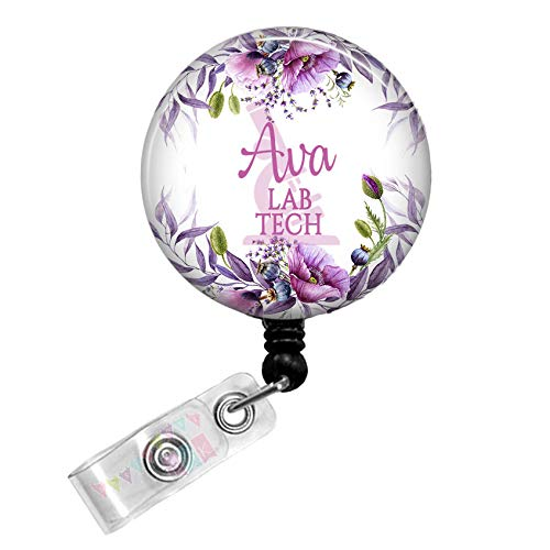 Lab Tech - Microscope - Violets - PERSONALIZED - Button Badge Reel - BR0141
