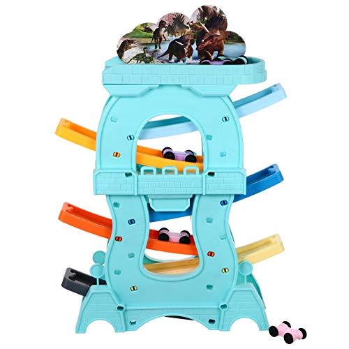 TOYANDONA Auto Rampe Spielzeug Kunststoff 6 Schicht Zickzack Rennstrecke Kugelbahn Autorennbahn Spielzeug für Kinder Früh Pädagogischen Spielzeug Geschenk ( Blau )