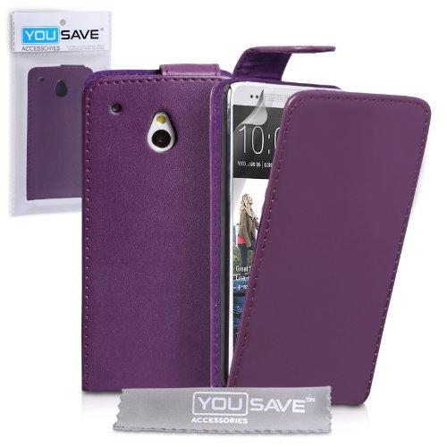 Yousave Accessories-Custodia Flip in Pelle PU per HTC One Mini, Colore: Nero, Viola, Case Only