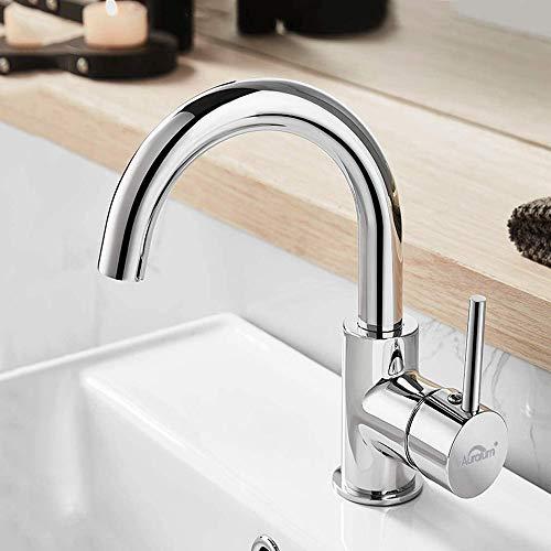 Auralum Wasserhahn für Bad, 360° Drehbar Waschtischarmatur Hoch Mischbatterie für Waschbecken