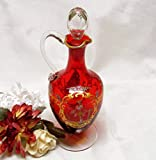 Art Glass Victorian Gentleman and Lady Ruby Glass Cruet