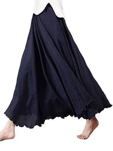 Damen Maxirock Baumwolle Lange Rock Tellerrock Doppelt Schicht Elastischer Bund für Freizeit Urlaub Strand - Schwarz Länge 95cm