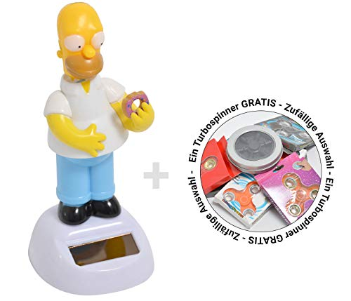 Alsino Spinner + Wackelfigur Homer Simpson Kultfigur Solar Solarfigur Simpsons Fanartikel 12,5 cm Bewegliche Figuren Auto inklusive Turbospinner