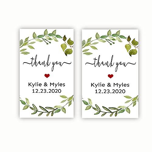 Custom Hand Sanitizer Label, Personalized wedding sanitizer bottle stickers, Baby Shower, Bridal Shower Favor Sticker Greenery- Set of 40