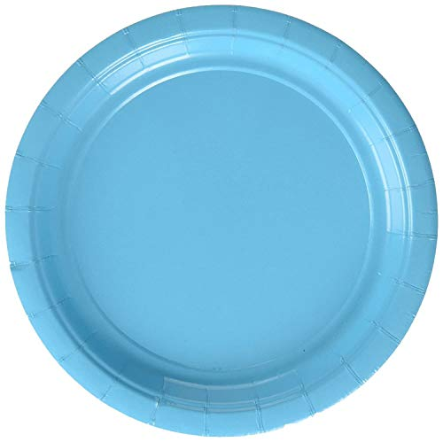 Amscan 650013.54 Caribbean Blue Paper Lunch Plates | Big Party Pack | 50ct
