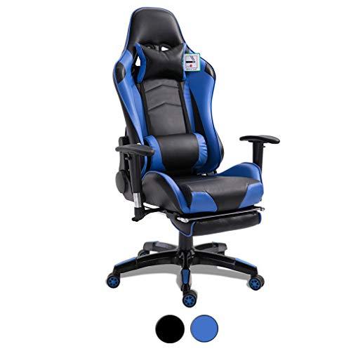 Gaming Racing Sport Elite - Silla de escritorio ajustable para computadora lumbar y almohada para la cabeza, asiento comodo carga 150 kg, respaldo alto giratorio de piel sintetica (azul)