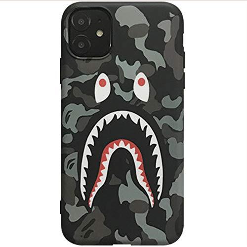 JMSTT Mattiert iPhone Hülle Haifischmaul Design Silikon Alles Inklusive Soft Shell Schutzhülle 360° Fallschutz Anti-Rutsch Schlank Handyhülle,Grau,7p/8plus