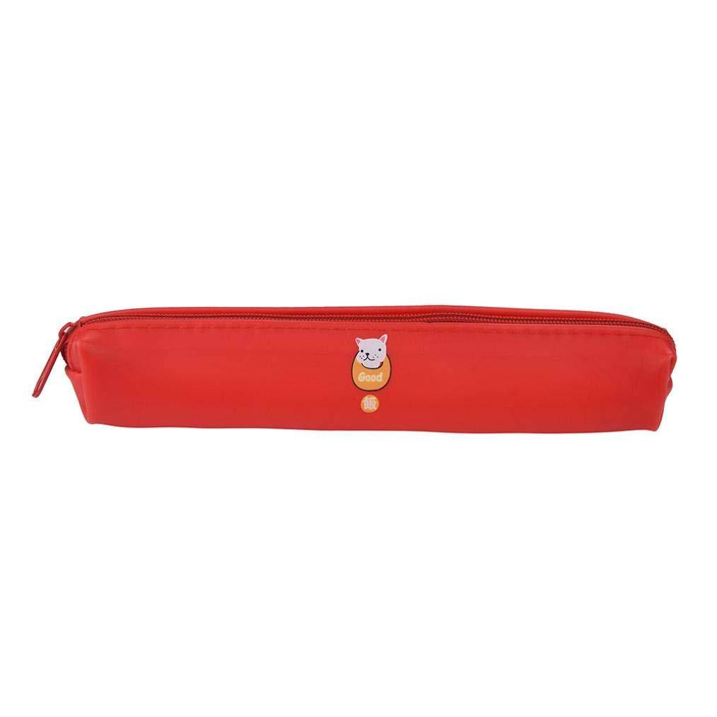 Estuche escolar, color caramelo larga banda silicona regalo escolar de bolsa de almacenamiento cosmética bolso 18 * 3 cm Buel, color rojo L: Amazon.es: Oficina y papelería