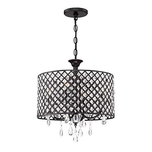 RY Lustre Lustre en cristal rond moderne chambre occidentale restaurant boutique vitrine nordique créatif lampes simples & (Couleur : NOIR)