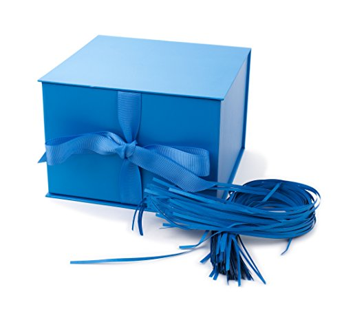 """Hallmark 7"""" Gift Box with Lid and Paper Fill (Blue) for Hanukkah, Christmas, Holidays, Father"""