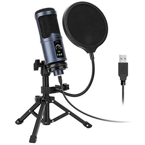 OMOTON Studioqualität Kondensatormikrofon[Super Noise Reduction] PC Mikrofon mit Pop Schutz Filter, tragbarem Stativ und Kabel für Zuhause oder Studio