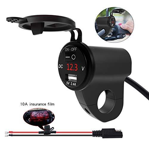 Kriogor 2.4A 5V USB-Ladegerät mit 6V-30V Voltmeter und Unabhängigem Schalter, wasserdichte für 12V Motorrad Geländefahrzeuge Telefon GPS Tablette Navigation (Schwarz)