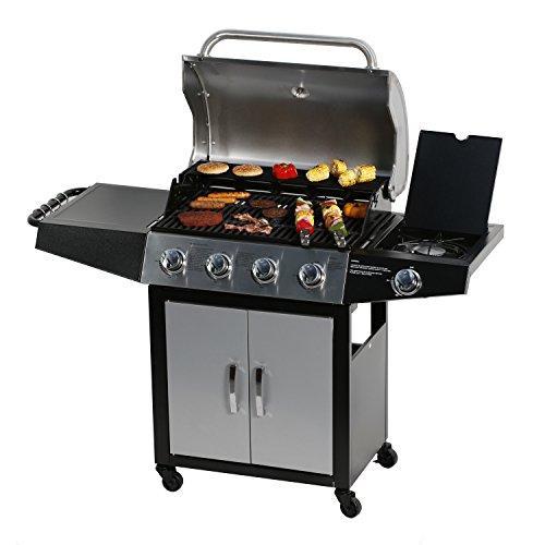 Master Cook SRGG41128, 4+1 Bunner Gas Grill, Sliver-Black