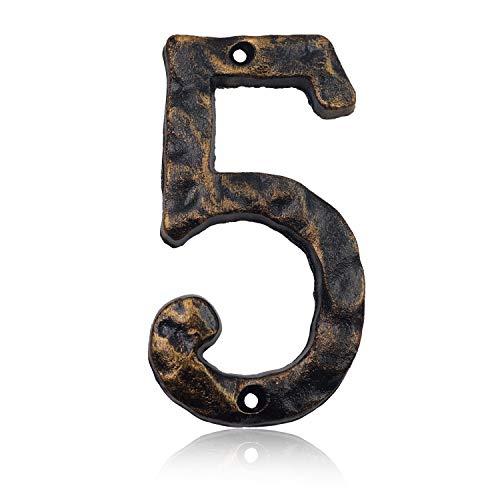 Hausnummern aus massivem Gusseisen, 15,2 cm, einzigartige Hammeroptik mit individueller unregelmäßiger Handarbeit, antikes Messing-Finish, Number 5
