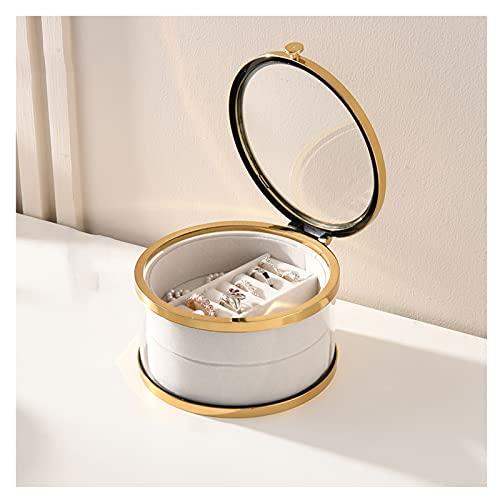 OMYLFQ Cajas de joyería de Forma Redonda Transparente Joyería de Vidrio apilable Caja de joyería de Viaje a Prueba de Polvo para Collares, Pendientes (Color : Gold, Size : 2 Layers)