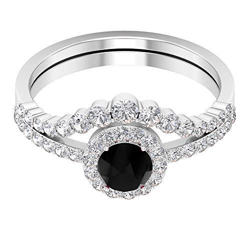 Anillo de compromiso de diamante negro creado de 5 mm, para mujer, anillo de oro nupcial, 14K Oro blanco, Diamante negro creado en laboratorio, Size:EU 55