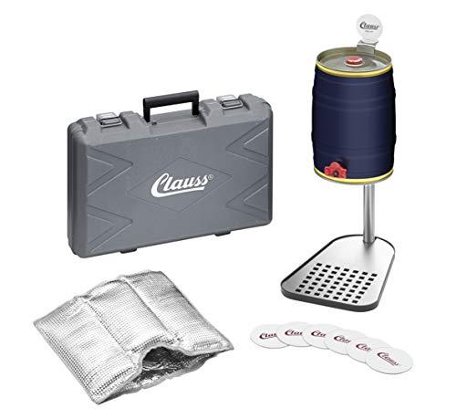 Clauss CL-60004 00 Bierfasshalter inkl. Kühlmanschette, Edelstahl, Fuß Stahl schwarz lackiert