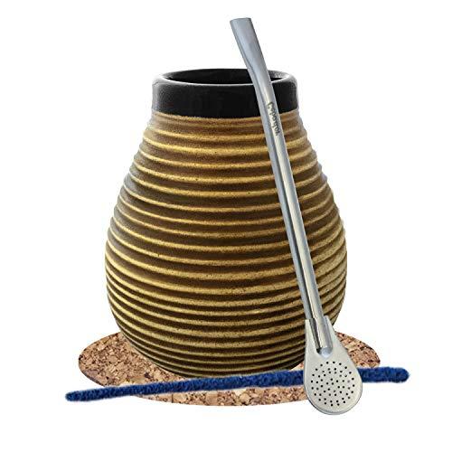 Mate Tee Starter Set | Set für Anfänger| Großer Keramischer Mate Becher 350ml | Edelstahl Bombilla | Korkuntersetzer | Reiniger | Produkt von Cebador