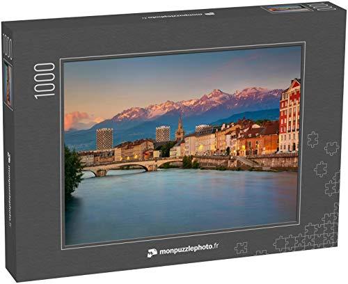monpuzzlephoto Puzzle 1000 pièces Grenoble. Image de la Ville de Grenoble, France, au Coucher du Soleil - Puzzles Classiques dans Une boîte Noble avec Motif.